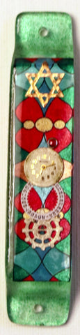 A Star of David Mezuzah with Stained Glass Design.  Hand Crafted Mezuzah for the Doorpost of your Home. # M-1054