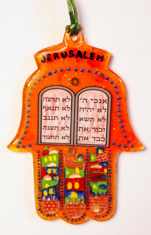 Hamsa with Ten Commandments and Jerusalem.  A Unique wall hanging for the Home - H-040