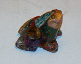 Art Frog with Color Stones.  Judaica Frog.  Passover Frog.   # F-047