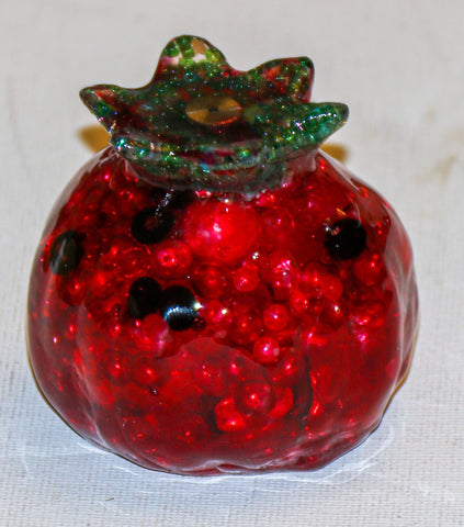 Pomegranate - Beautiful Resin Pomegranate with Beads & Watch Parts.   # F-107