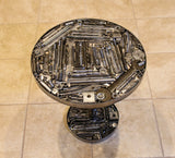 "Welded Metal Table from Recycled Metal.  18"" tall x 18"" Diameter.  Hand Made and one of a Kind."