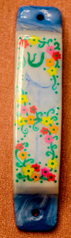 Flower Mezuzah with Shin. Art Design.   One of a Kind  # M-1065