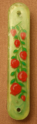 Pomegranate Mezuzah with Sh1n.  Mezuzah with Scroll.   One of a Kind Judaica Art #M-1067