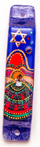 Giving of the Ten Commandments Hand Crafted Mezuzah.  One of a Kind Judaica Art # M-1074