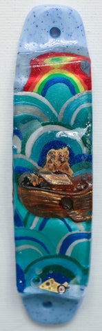 A Noah's Ark Mezuzah for the Doorpost of your Home.  Mezuzah with Scroll.   One of a Kind Judaica Art  # M-1081