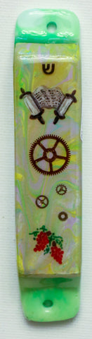 A Mezuzah with Torah Scroll.  Hand Crafted Mezuzah.  One of a Kind Judaica Art # M-1076