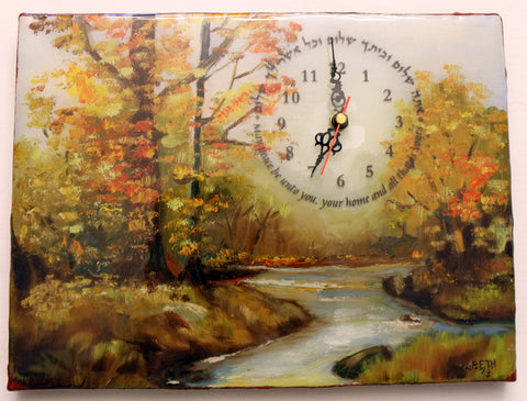 A Hand Painted Clock Art with Blessing for the Home.   One of a Kind Art # CL-120