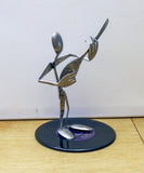 Guitar Player Metal Sculpture - made from silverware and mounted on a 45 record.  Guitar Sculpture.. Guitar Art. HM-6