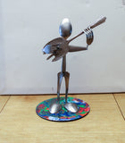 Guitar Player Metal Sculpture - made from silverware and mounted on a 45 record.  Guitar Sculpture. Silverware Musician. Guitar Art. HM-4