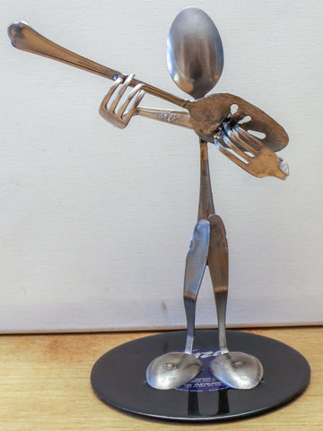 Guitar Player Metal Sculpture - made from silverware and mounted on a 45 record.  Guitar Sculpture. Silverware Musician. Guitar Art. HM-#2