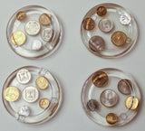 Israel Coin Coasters (4) -One of a Kind original Judaica Art # C-023