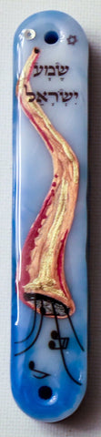 A Shofar Mezuzah with Shema Israel for the Doorpost of your Home.  Mezuzah with Scroll.   One of a Kind Judaica Art  # M-1088