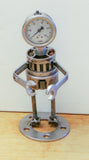 "Robot Planter Metal Sculpture - made from recycled Metal.  Approx. 10"" Tall.  Metal Art.  Welded Robot. Plant Holder HM-10"