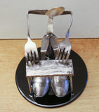 Piano Player, Electric Organ Player Metal Sculpture - made from silverware & mounted on a 45 record.  HM-8