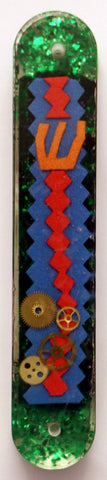 A Hand Crafted Mezuzah for the Doorpost of your Home. One of a Kind Judaica Art # M-079