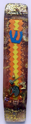 A Hand Crafted Mezuzah for the Doorpost of your Home. One of a Kind Judaica Art # M-086