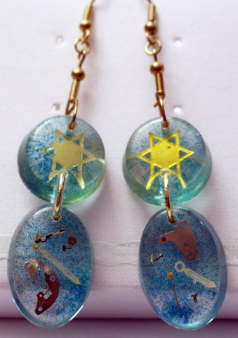 Hand Crafted Judaica Earrings with Star of David. One of a Kind Wearable Judaica Art  # E-010