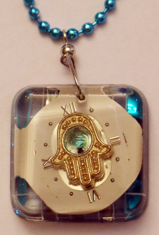 A Hand Crafted Hamsa Pendant with chain. One of a Kind Wearable Judaica Art  # P-106