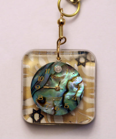 A Hand Crafted Star of David and Abalone Watch Face Pendant with chain. One of a Kind Wearable Judaica Art  # P-107