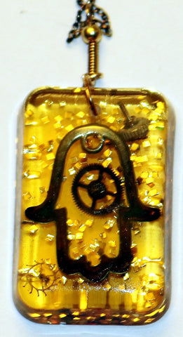 A Hand Crafted Hamsa Pendant with chain. One of a Kind Wearable Judaica Art  # P-105