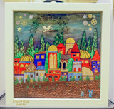 Framed Art - CITY OF GOLD - Jewish Art. Housewarming # 3D-003