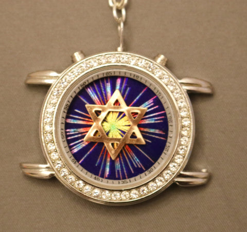 A Hand Crafted Star of David Watch Pendant with chain. One of a Kind Wearable Judaica Art  # P-115