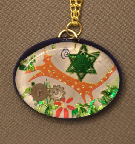 A Hand Crafted Star of David and Leopard Pendant with chain. One of a Kind Wearable Judaica Art  # P-123