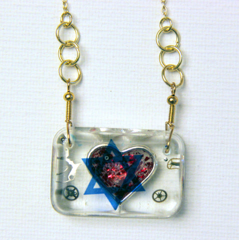 Hand Crafted Pendant with chain. One of a Kind Wearable Judaica Art  # P-018