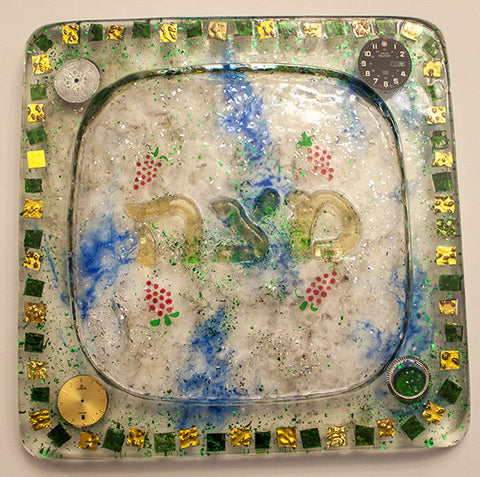 Hand Crafted Matzah Plate.  One of a Kind Judaica Art for your Home # PL-003