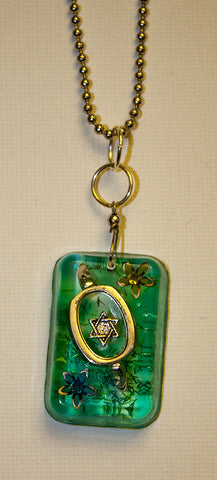Hand Crafted Pendant with chain. One of a Kind Wearable Judaica Art  # P-034