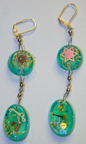 Hand Crafted Earrings with Star of David and watch Parts. One of a Kind Wearable Judaica Art  # E-004