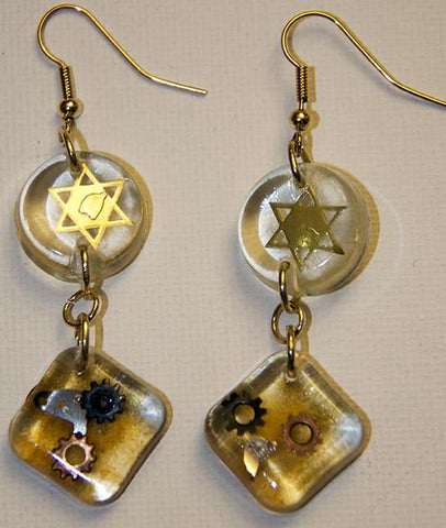 Hand Crafted Earrings with Star of David and watch Parts. One of a Kind Wearable Judaica Art  # E-006