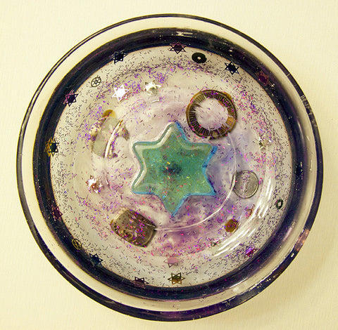 Hand Crafted Decorative Bowl with Star of David.  One of a Kind Judaica Art for your Home # B-004