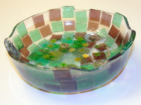 Custom Bowls Available .  Decorative Bowl with Stars of David.  One of a Kind Judaica Art for your Home # B-006