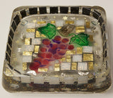 Hand Crafted Decorative Square Bowl with Grapes.  One of a Kind Judaica Art for your Home # B-008