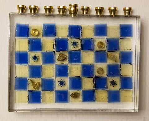Hand Crafted Menorah with Tiles and Watch parts.  One of a Kind Judaica Art for your Home # ME-007