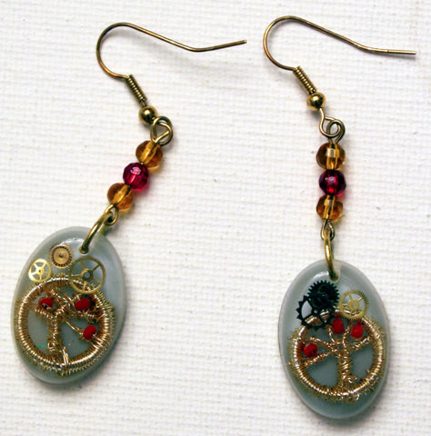 and Crafted Judaica Earrings with Tree of Life. One of a Kind Wearable Judaica Art  # E-022