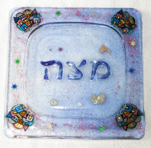 Jerusalem City, Hand Crafted Matzah Plates.  One of a Kind Judaica Art for your Home # PL-009