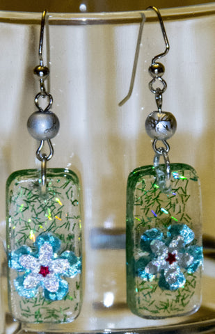 Hand Crafted Flower Earrings. One of a Kind Wearable Art  # E-020