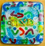 Colorful Matzah Plate.  Jewish Matzah Plates. Passover Plate. Colorful Plate.  Jewish Home Decor.  Judaica Home Decor.  Housewarming # PL-008