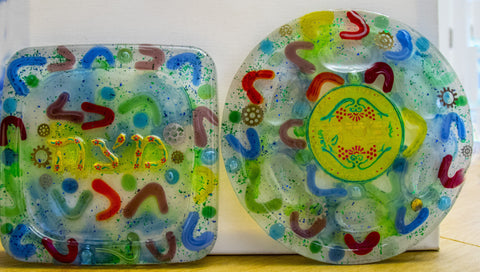 Colorful Seder Plate & Matzah Plate. Passover Plates.  Passover Gift.  Jewish Seder Plate.  Judaica Seder Plate.  Seder and Matzah.# Set-005