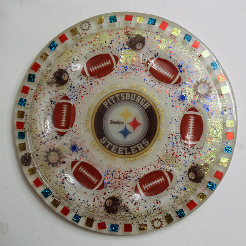 Pittsburgh Steelers Seder Plate.  Can be Customized with your favorite Team. Sports Seder Plate.  Football Seder Plate. Custom Plate. SP-115