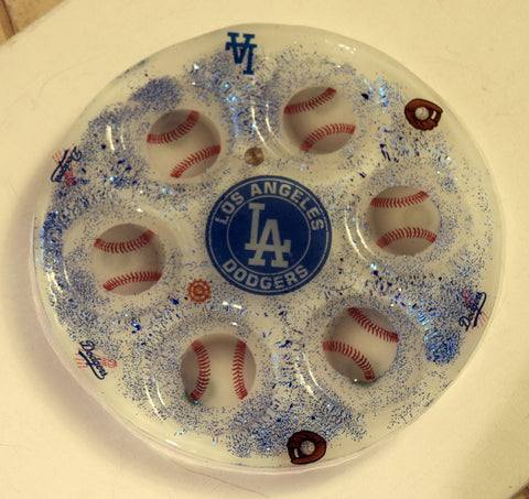 Los Angeles Dodgers Seder Plate.  Can be Customized with your favorite Team. Sports Seder Plate.  Baseball Seder Plate. Custom Plate. SP-111