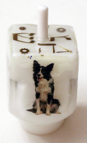 Hand Crafted Dog Dreidel, includes stand.  One of a Kind Judaica Art for your Home # D-053