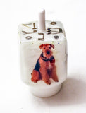 Hand Crafted Custom Dog Dreidel with pictures of your Dog, includes stand.  One of a Kind Art.