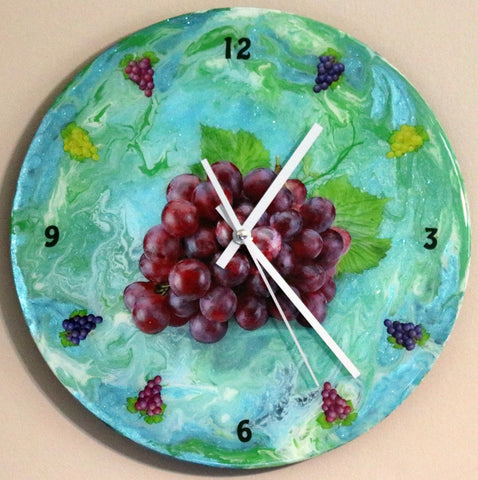 Grapes Clock. Painted on recycled LP. Customized Clock.  One of a Kind Art # CL-109