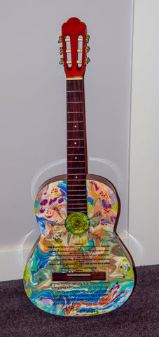 Original Judaica Art Guitar - Hallelujah Guitar Wall Hanging  Judaica Home Decor   One of a Kind. # G-006