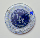 (4) Los Angeles Dodgers Art Coasters for your home. One of a Kind Judaica Art #C-016 - Request a Custom Set with your favorite Team