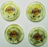 (4) Los Angeles Lakers Art Coasters for your home. One of a Kind Judaica Art #C-014 - Request a Custom Set with your favorite Team