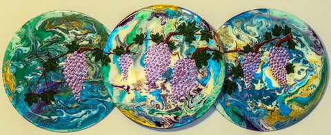 Grapes Wall Hanging, painted on recycled LP.  Wine Art.  Hand Painted. One of a Kind  #WH-003